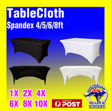 Tablecloth DJ Trestle Rectangle Spandex Cover 4/5/6/8ft White Black Wedding