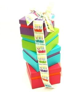 4pc. Broadway Basketeers Happy Birthday Wishes ~ (Clean/EMPTY) Gift Boxes