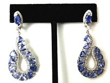 Unheated Blue 9 Ct Tanzanite Trillion White Gold Over Sterling Silver Earrings
