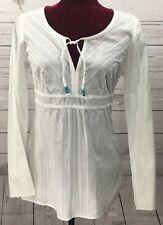 Ann Taylor Loft Womens Tunic Casual Career White Shirt Size 4