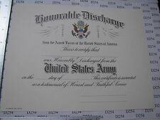 US ARMY HONORABLE DISCHARGE CERTIFICATE blank DD original for replacement