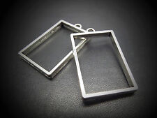 5x 30*21*4mm open backed rectangle pendant setting resin bezel charm cabochon uk