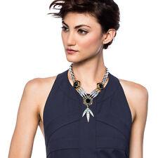 Nicandra Drop Necklace Art Deco Ombre Blue Crystals Hexagonal Glass Stone LF
