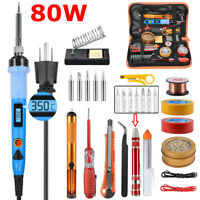 80W Soldering Iron Kit Welding Tool Solder Tip Cleaner Desoldering Pump Station