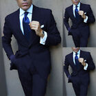 Men's Navy Blue Wide Lapel Formal Tuxedos Slim Fit Two Pieces Party Prom Suits