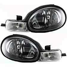 Fits 00-02 Dodge Neon & 00-01 Plymouth Neon L & R Headlamp W/Black Bezel (pair)