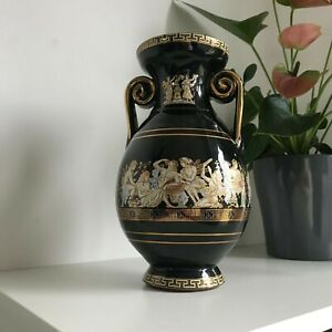 Greek Style Vase With 24K Gold