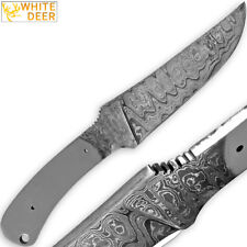 White Deer Damascus Blank Knife Full Tang Rain Drop Pattern Welded Skinner Blade