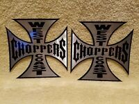 2 Authentic West Coast Choppers Iron Cross Die Cut Stickers Decals 6x6