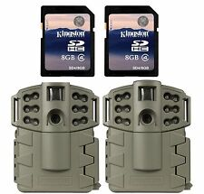 (2) MOULTRIE Game Spy A-5 Gen2 Low Glow Infrared Trail Cameras + (2) SD Cards