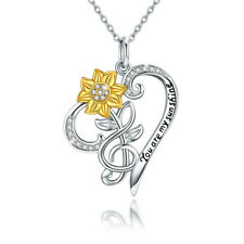 Fashion women 14K White Gold lettering Love Flower Pendant Necklace Jewelry Gift
