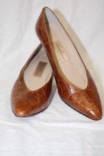 "Vintage AMALFI Brown Leather ""Croc"" Textured MONICA Heels Womens 8.5C Italy-B124"