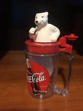 1997 Coca Cola Singing Polar Bear Plastic Mug Flip Top