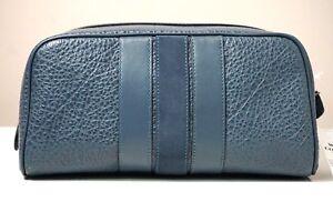 Coach Varsity Stripe Leather Denim Blue Travel Kit F21387