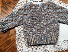 Handmade Crochet Long Sleeve Pullover Cardigan 12 to 24 months Tan/Blue tones