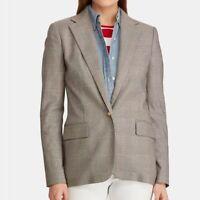 NEW Ralph Lauren Blazer 8 NWT womens Glen Plaid Blazer black white tartan gold