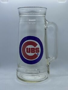 Chicago Cubs Clear Heavy Drinking Glass Beer Mug Stein MLB Baseball Logo Cup