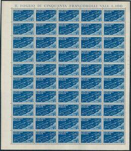 FI174 REGNO – Foglio completo Posta Aerea 2 lire n 15 – MNH** Cat. € 125