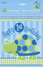 1ST Birthday Turtle Loot Bags 8PK M40453 Party Supplies Boys Lolly Treat Favor