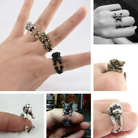 Rings Jewelry Fashion Vintage Antique Bronze Bulldog Statement Wrap Animals Ring