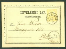 HUNGARY TOWN CANCEL on 1871 2kr POSTAL CARD - TISZA-FURED