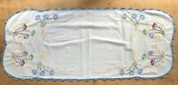 Vintage Cotton Table Runner Embroidered with Flowers Blue Crochet Lace Trim