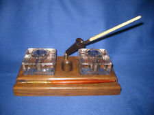 Vintage Art Deco Wood Desktop Pen Bakelite Holder Double Glass Inkwell By Velos.