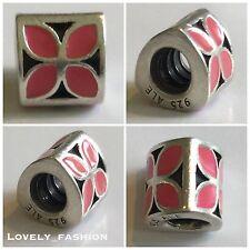 Boxed Pandora SMALTO ROSA FIORE Charm Argento 925 ale 790437en05