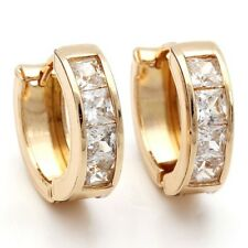 Earrings 9ct Gold GF Diamond Huggie Hoops Gift 16 mm Holiday Summer Work