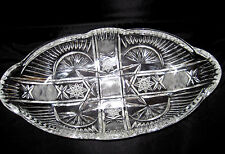 Clear Cut Pressed Glass OVAL Relish Pickle Candy Dish Plate Container