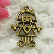 Free Ship 120 pieces bronze plated girl charms 28x18mm #1834