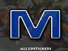 Pegatina Letra M 3D Color Azul Tamaño 50mm