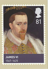 POST OFFICE POSTCARD - KINGS  &  QUEENS  OF  SCOTLAND  -  JAMES  VI