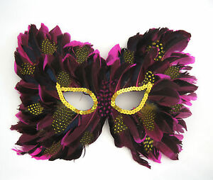 Deluxe Purple Eye Mask Feather Sexy Feathered Adult Carnaval Mardi Gras Mask