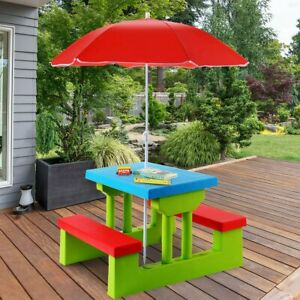 Children Picnic Play Table Set with Removable Umbrella Indoor Outdoor Furniture