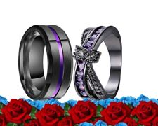 His and Her Stainless St Cz Purple BLACK Matching Engagement Wedding Rings Set