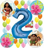 Moana Party Supplies Birthday Decorations Number Balloon Bundle for (2nd Birt...
