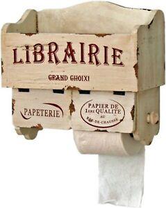 """Wooden """"Librairie"""" Toilet/Kitchen Roll Holder/Book Storage/French/Distressed"""