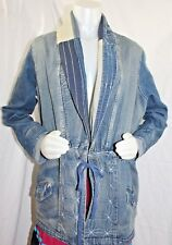 VINTAGE Roaman's Jean Jacket Womens Size 18 Patchwork Embroidery Denim Blue Long