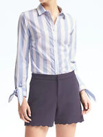 NWT Banana Republic New $68.00 Women Riley-Fit Bow-Cuff Stripe Shirt Size 8Tall