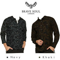 "Brave Soul Mens Camo Shirt Long Sleeve Military Double Chest Pocket ""York"""