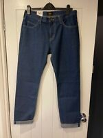 NEW MEN'S LEE RIDER SLIM FIT CROPPED DENIM BLUE JEANS W32 L32 RRP £110