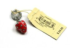 Fossil Strawberry Charm Pendant Red/Silver Stainless/Enamel JF00345040 Jewelry