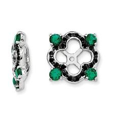 Platinum Sterling Silver Black Sapphire & Created Emerald Halo Earring Jackets