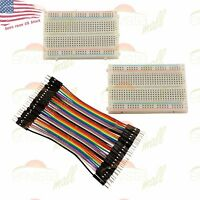 2X 400 Point Solderless Prototype Breadboard Protoboard+40 DuPont 10cm M-M Wires