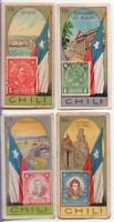 4 Chile Pre-WWII Trade Ad Cards Showing Postage Stamp Flag