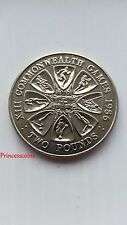 1986*UNC*BAILIWICK OF GUERNSEY XIII COMMONWEALTH GAMES £2 TWO POUND COIN-KM#48