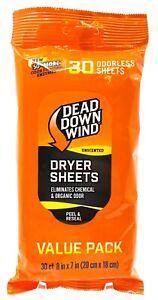 Dead Down Wind Dryer Sheets Unscented 30 Sheets Eliminates Odors 113019 Deer