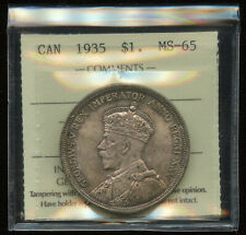 1935 Canada $1 Silver Dollar ICCS MS-65 Cert #XQE267