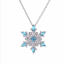 womens  Snow flake Blue Crystal Silver Necklace with gift box